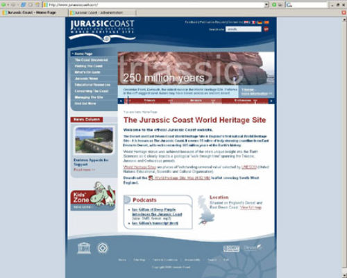 Jurassic Coast website homepage
