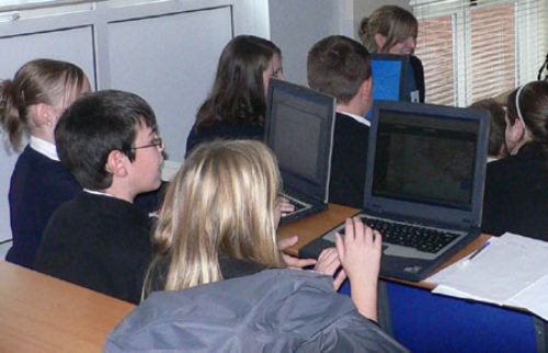 Pupils accessing computers