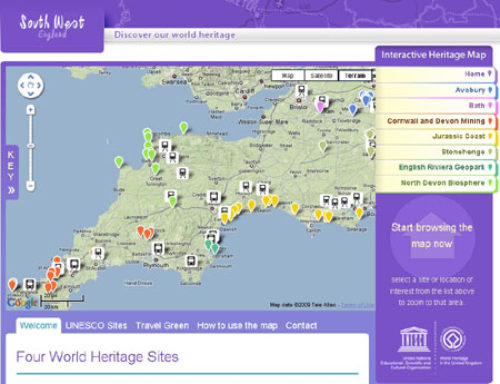 screen shot of the South West World Heritage Sites website