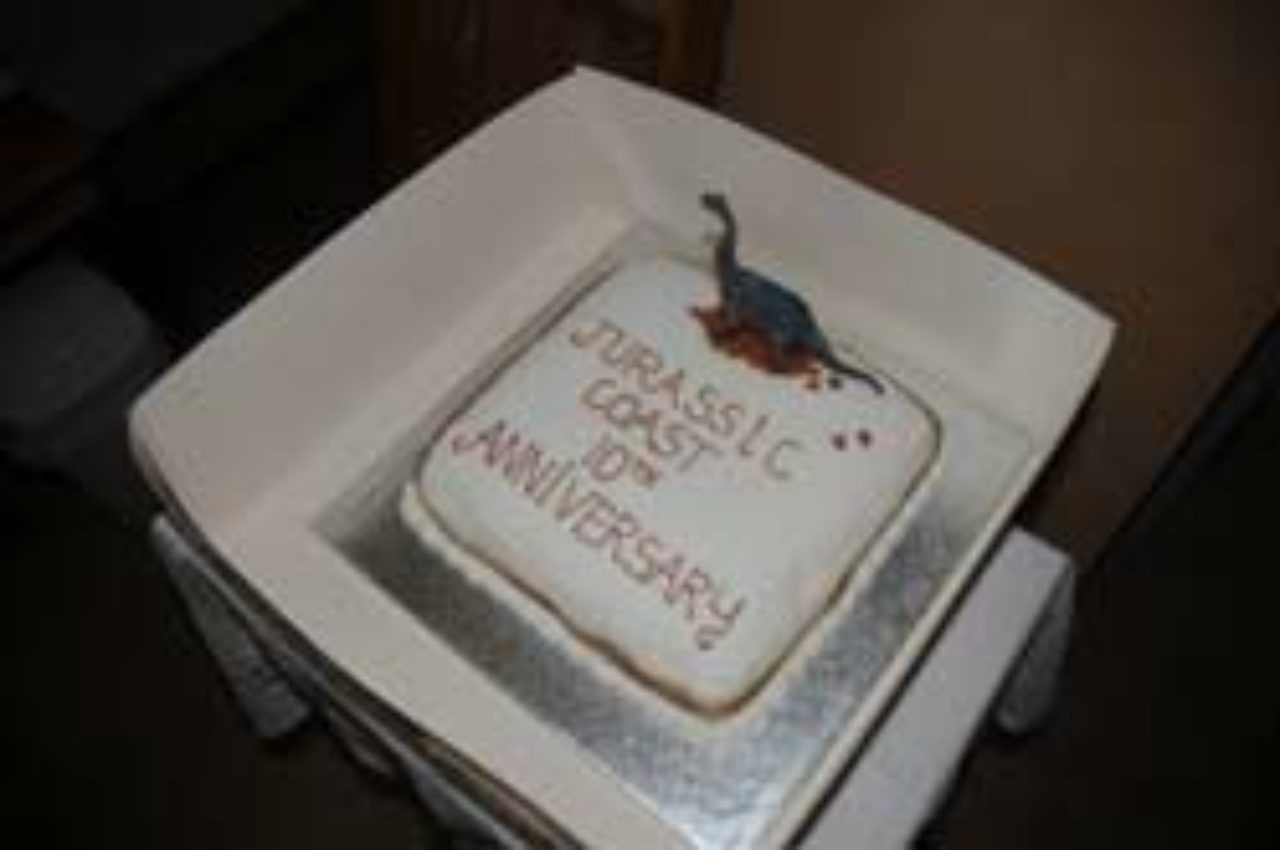 Wareham Museum's cake was decorated with chocolate dinosaurs