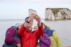 Old Harry makes a great backdrop for a quick selfie.