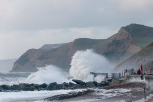 The power of the sea is continually eroding the coastline. This is West Bay.