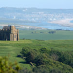 St Catherines Chapel with Chesil beach beyond
