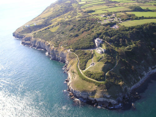 aerial view of Durlston Castle
