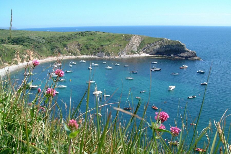 The view across sheltered Lulworth Cove