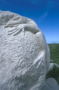 Lizard carving at Tout Quarry