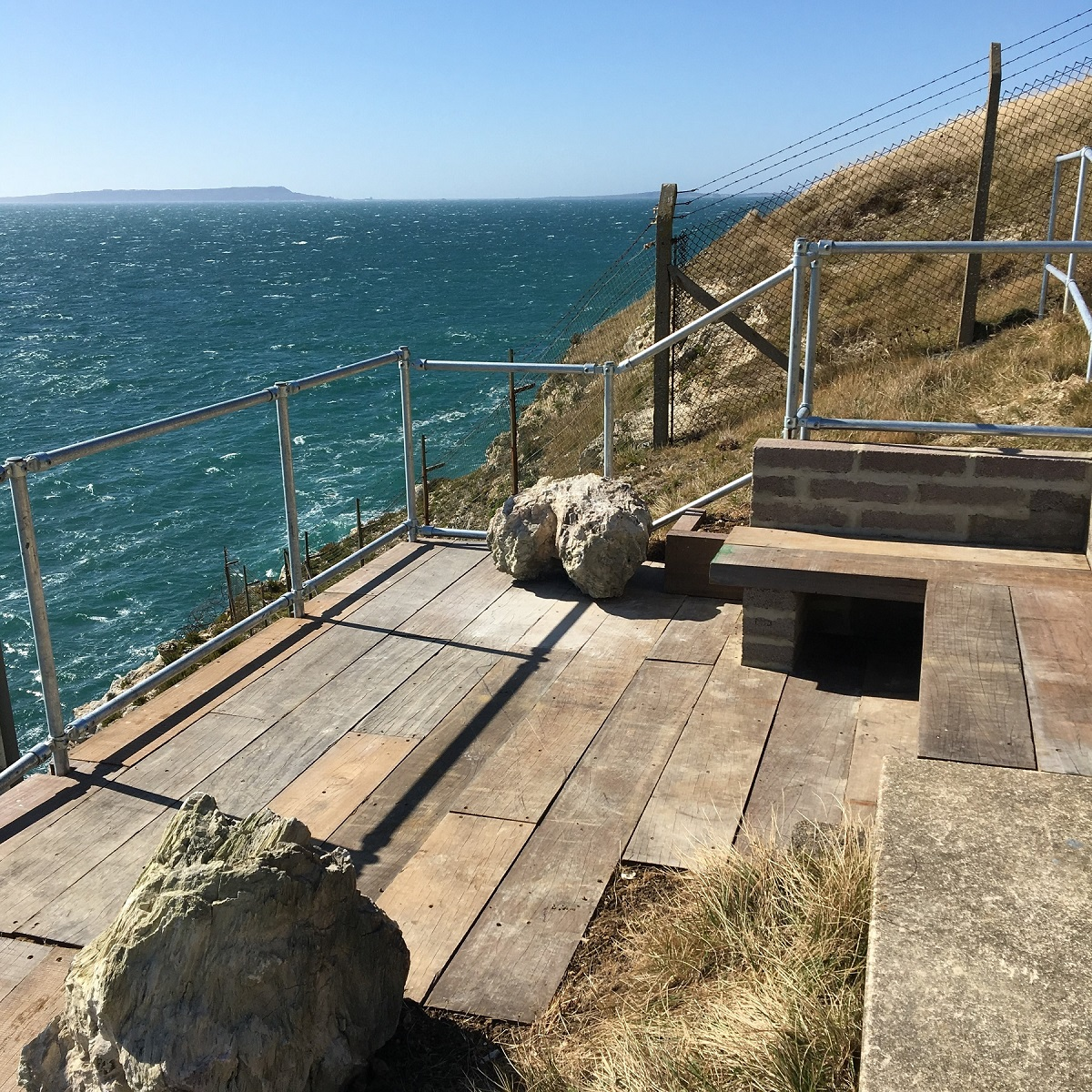 Lulworth Fossil Forest seating area