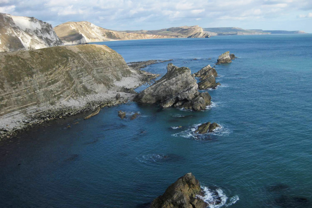 Mupe rocks, beneath the Lulworth Ranges near Lulworth Cove