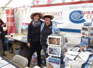 Jurassic Coast Trust Vice Chair Alex O'Dwyer and volunteer Gina Harper at the 2015 Fossil Festival