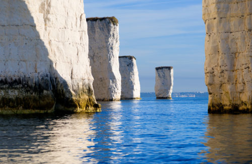 old harry rocks from sea