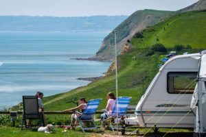 Clifftop camping at Highlands End Holiday Park.