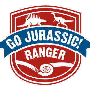 Go Jurassic Ranger Logo with fossils and dinosaurs