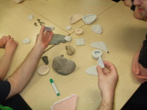 Replica fossils made using the fossil moulds.