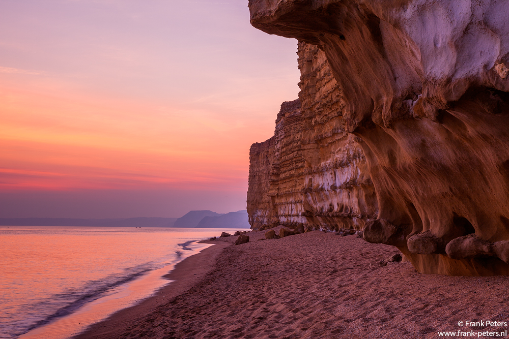 Sunset at Burton Bradstock copyright Frank Peters