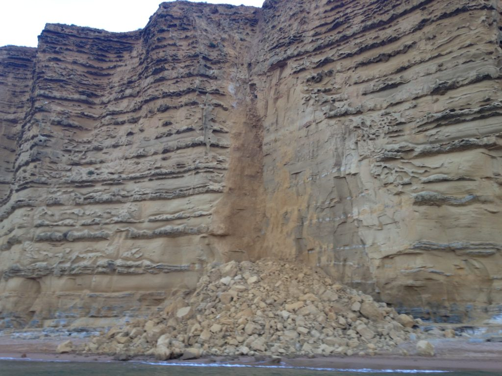 Rockfall at East Cliff, West Bay - Tuesday 16th August 2016