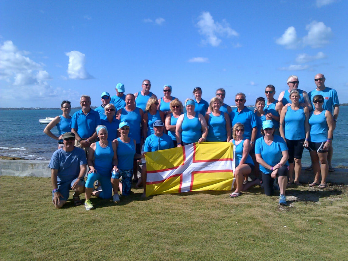 """Thirty members of Jurassic coast Gig Clubs from both Dorset & Devon named """"Team Jurassic"""" attended the first Bermudian gig rowing regatta."""