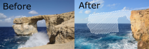 The Azure Window in Malta, before and after it's collapse.