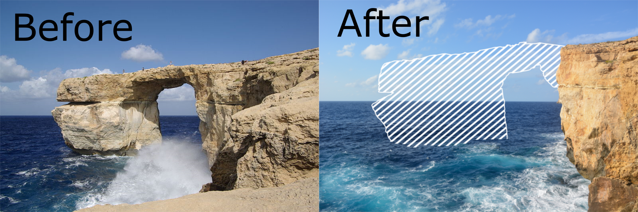 The Azure Window in Malta before and after itu0027s collapse.  sc 1 st  Jurassic Coast & The Future of Durdle Door - Jurassic Coast World Heritage Site