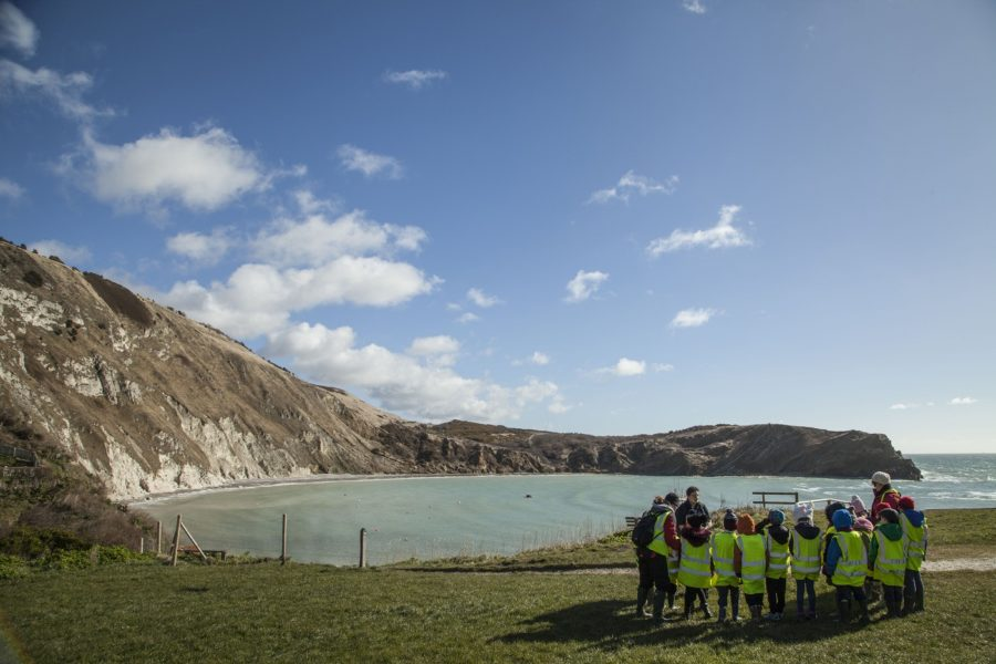 School group Lulworth Cove