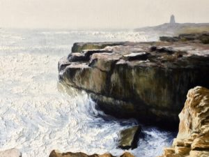 Rocks at Portland Bill. Oil on canvas