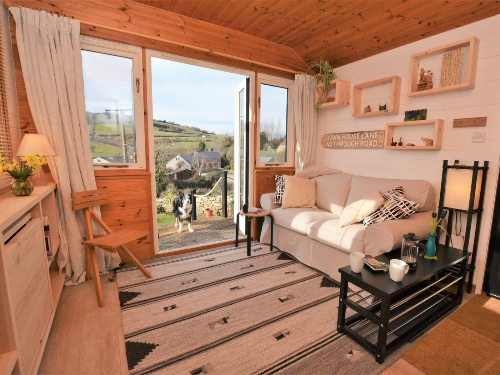 dog and outdoors view beehive cottage eype canine cottages