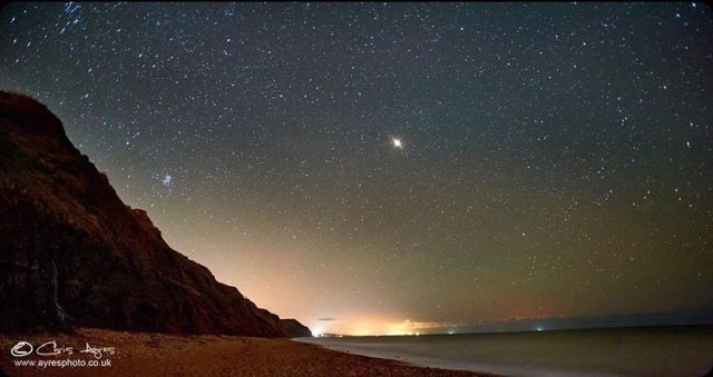 "My Jurassic Coast by @chrisayres__ who captured Mars over Charmouth beach in October.  ""I first visited Charmouth for fossil hunting and fell in love with the place. There is something magical about the cliffs during the day and night, one of the best night skies I have seen in the UK so far. Magical night skies and beautiful fossils.   I'm a photographer based in Surrey and visit The Jurassic Coast as often as possible.""  To share your own Jurassic Coast story please tag us in #myjurassiccoast"