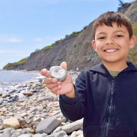 """""""How awesome are your beaches! My son found this fossil near Lyme Regis and it has made his week. Who knew we had such great fossils in the UK!""""  Thanks for letting us know Jordan Shenton!  #myjurassiccoast"""